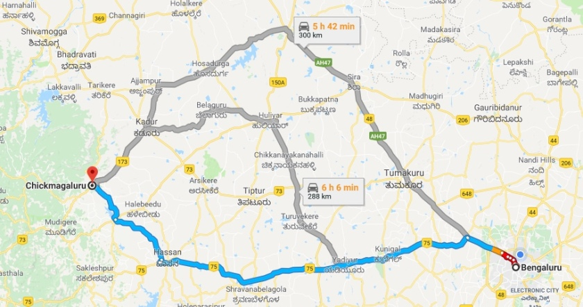 Bangalore to Chikmagaluru Road Map