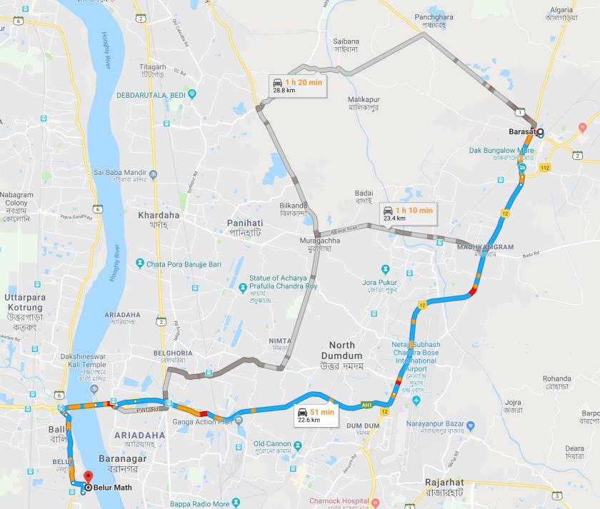 Belur Math Route Map