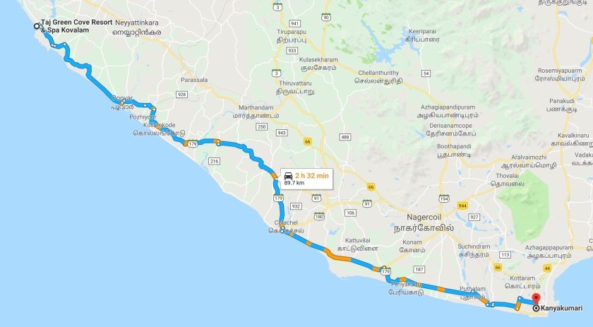 Kovalam To Kanyakumari Road Map
