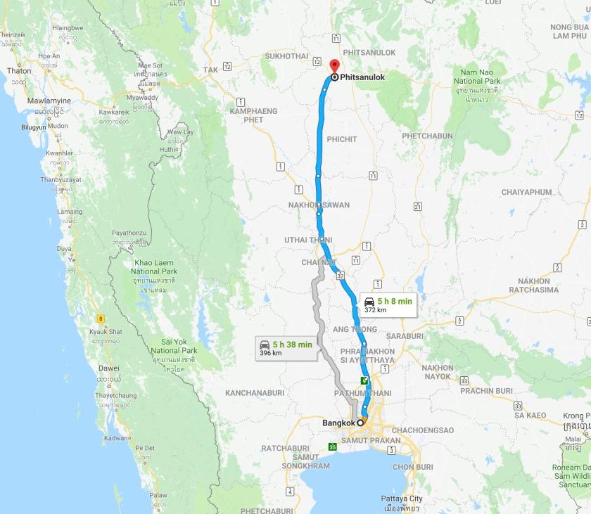 Phitsanulok Route Map