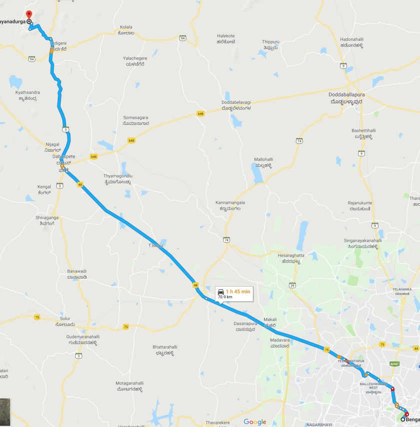 Route Map from Bangalore to Devarayanadurga