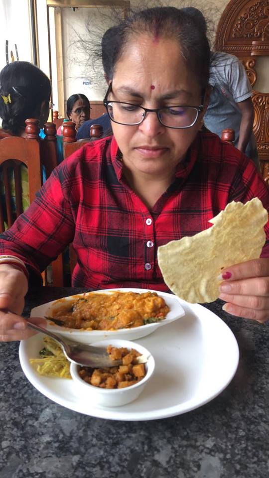 Deepshree having lunch at Hotel Astoria, Kodaikanal