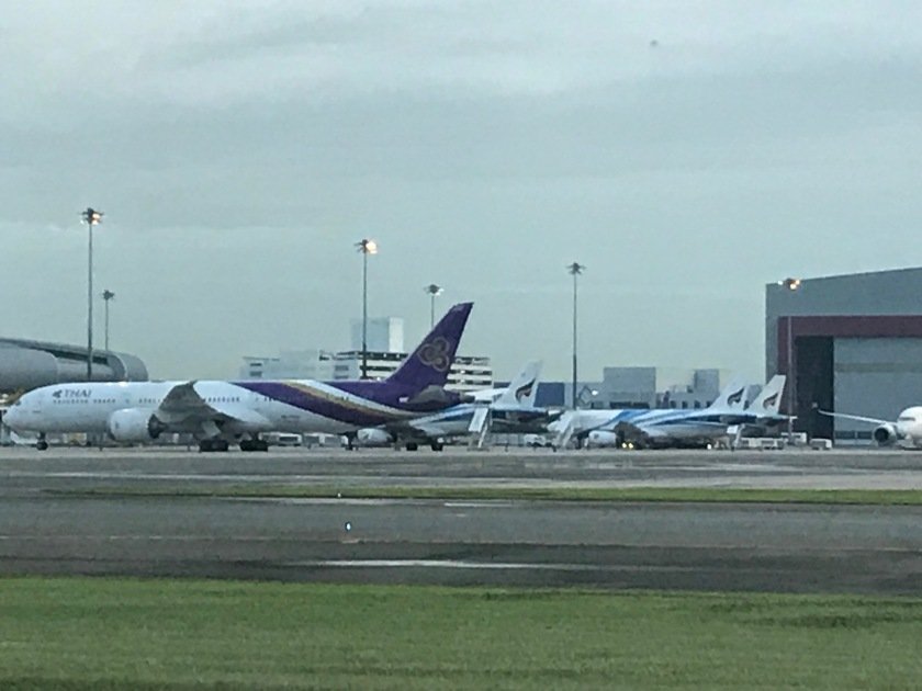 Aircrafts lined up on the tarmac