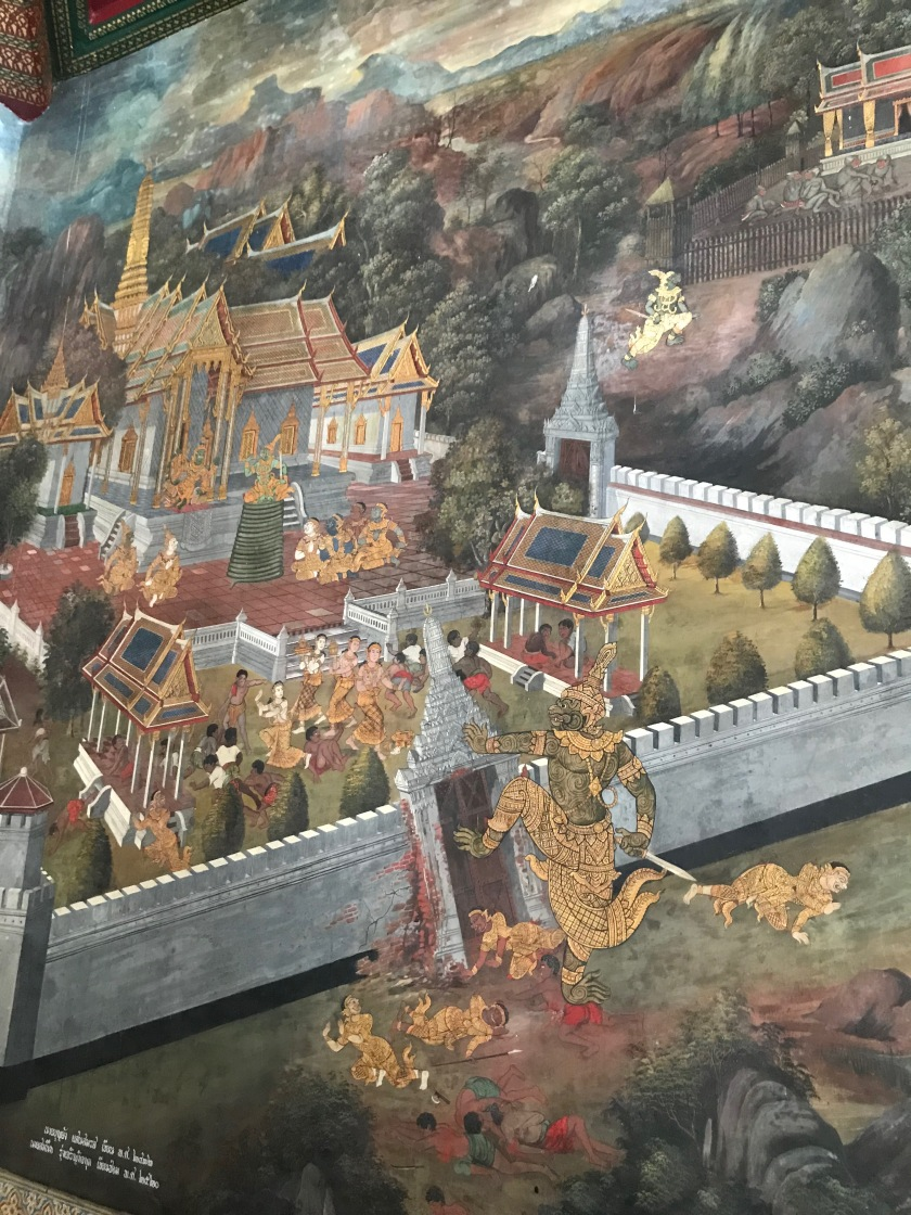 Paintings inside the Temple of Emerald Buddha