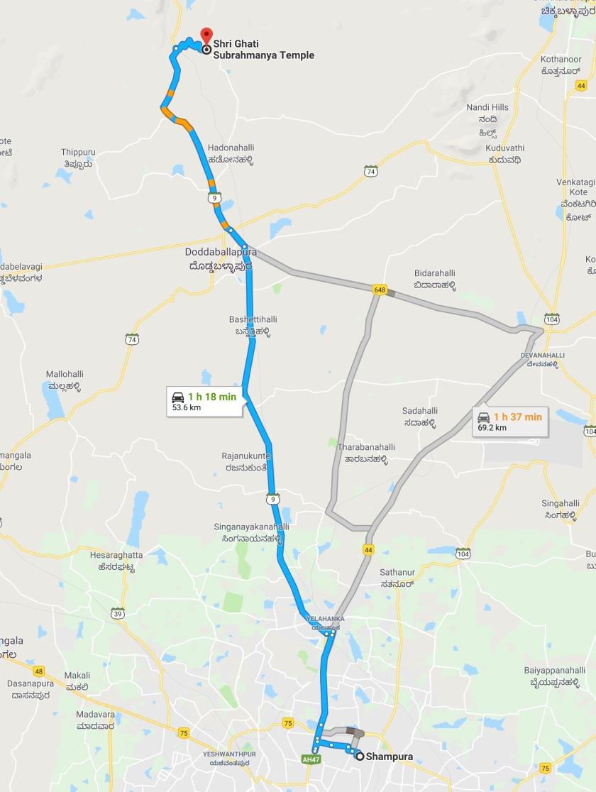 Bangalore To Ghati Subramanya Road Map
