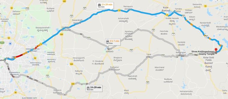 Bangalore To Kolar Road Map