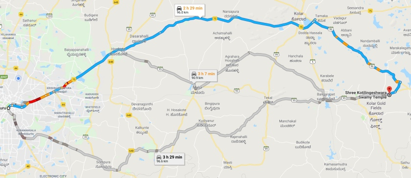 Bangalore To Kolar Road Map
